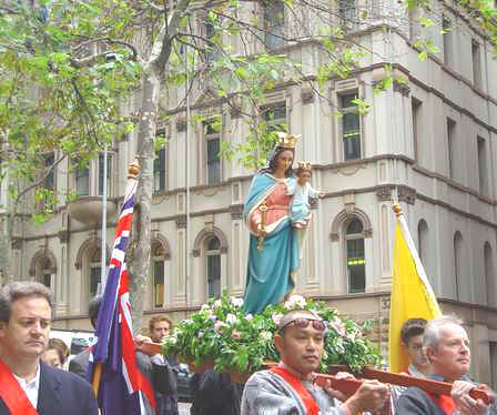 Rosary Procession in Sydney, Australia, in honour of Mary, Help of Christians.