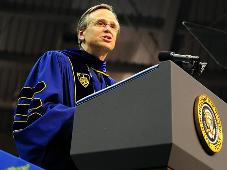 University President Fr. John Jenkins acknowledged the controversy surrounding President Barack Obama's presence at Commencement in his remarks Sunday.