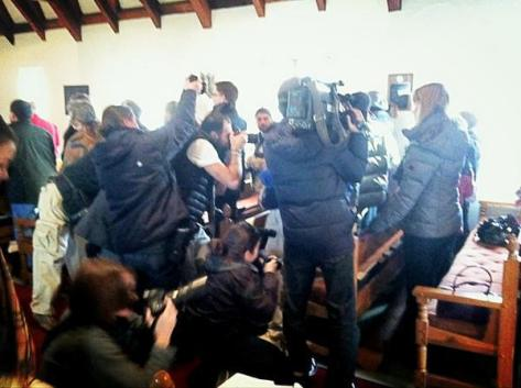 Media interrupting prayer & healing service at St John's service, Newtown CT